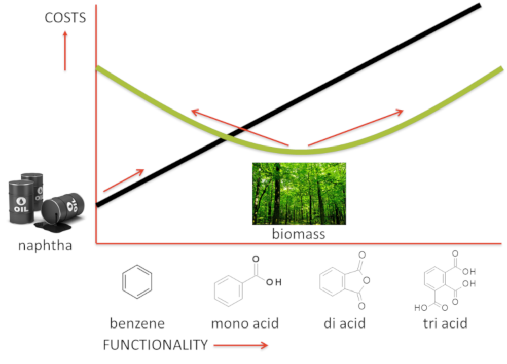 Figure 1: Naphtha is a cost-effective source for aromatics with no/little functional groups, while biomass readily provides functionality (oxygen atoms) cost-effectively. Biorizon and TNO are focused on functionalized aromatics. They provide an economic window of opportunity for biomass to compete with naphtha